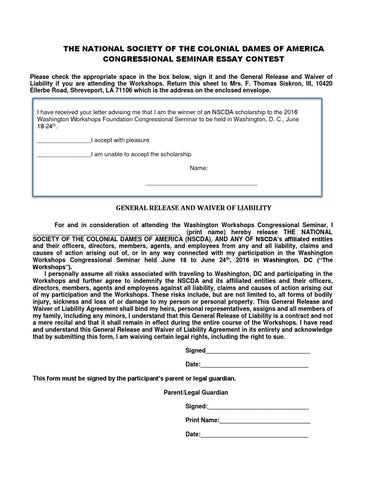 2016-Essay-Waiver-Of-Liability-Form-For-Congressional-Seminar
