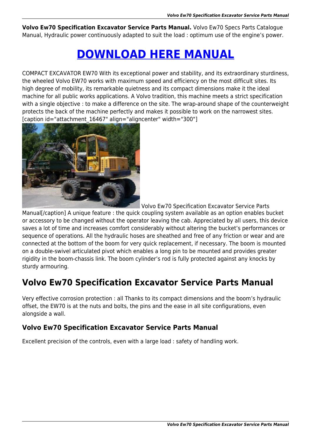 Volvo Ew70 Specification Excavator Service Parts Manual By Jhoncarls Engine Diagram Issuu