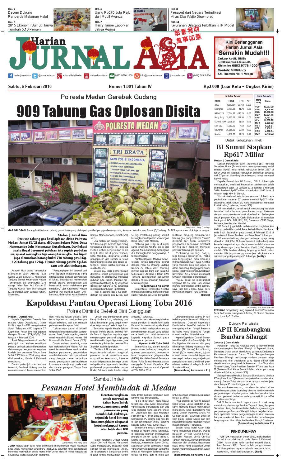 Harian Jurnal Asia Edisi Sabtu 06 Februari 2016 By Harian
