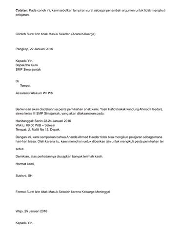 Contoh Surat Izin Tidak Masuk Sekolah Karena Urusan Keluarga