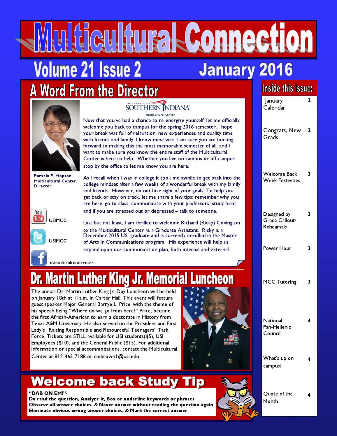 Usi Calendar.January Newsletter 2016 By Usi Multicultural Center Issuu