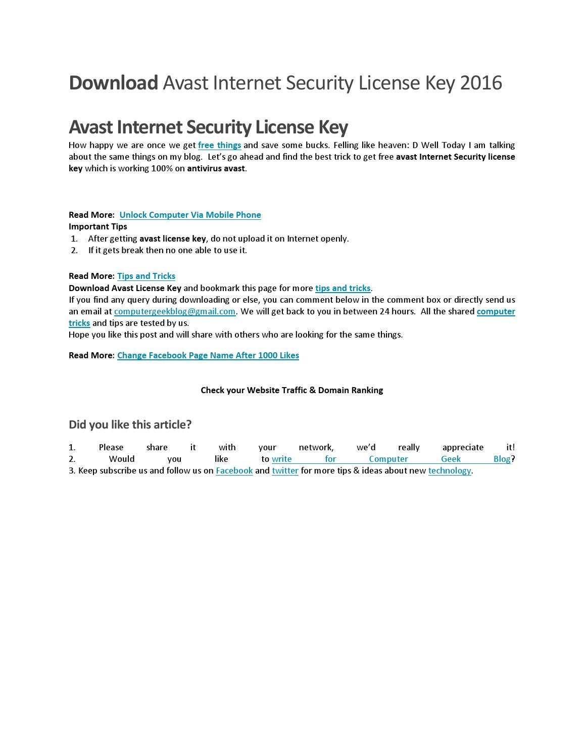 avast internet security licence key download
