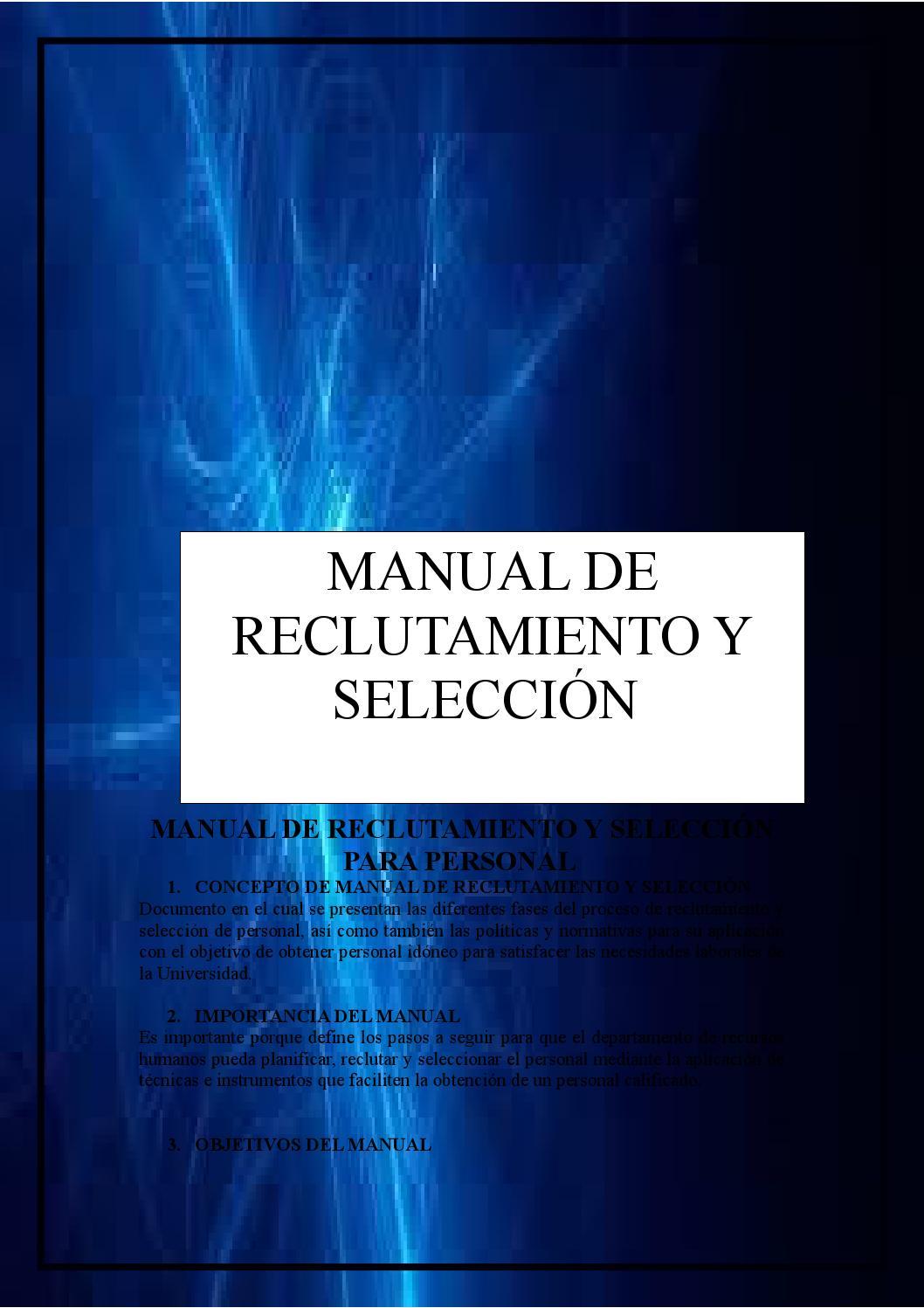 Manual de reclutamiento y seleccin para personal