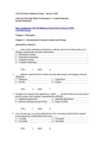 Cis 210 week 5 midterm exam by whitecolok - issuu