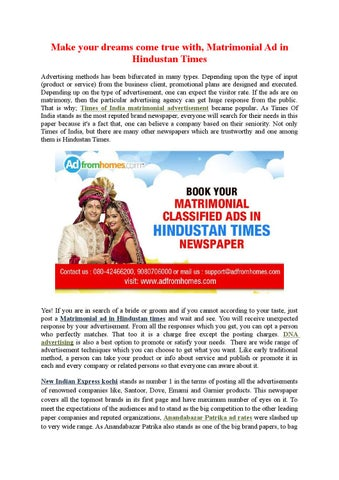 Make your dreams come true with, matrimonial ad in hindustan