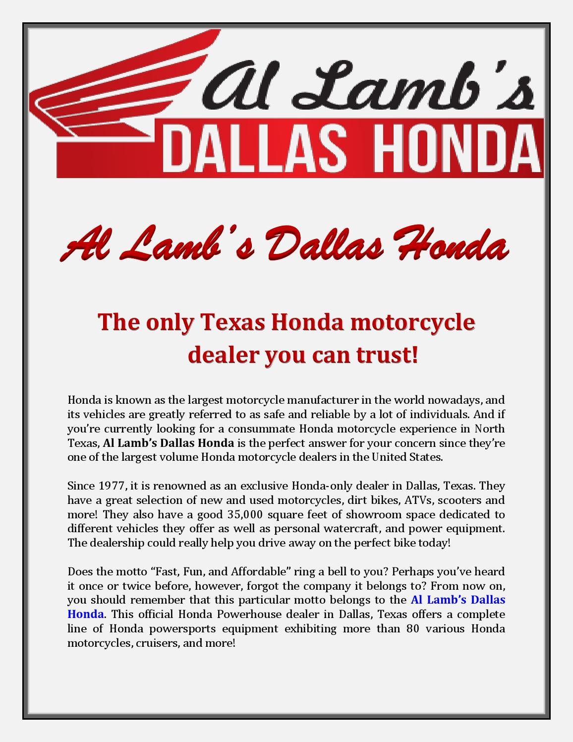 al lamb's dallas honda: the only texas honda motorcycle dealer you