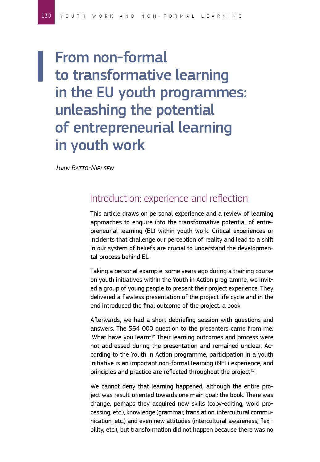From non formal to transformative learning in the eu youth from non formal to transformative learning in the eu youth programmes by juan ratto nielsen issuu 1betcityfo Gallery