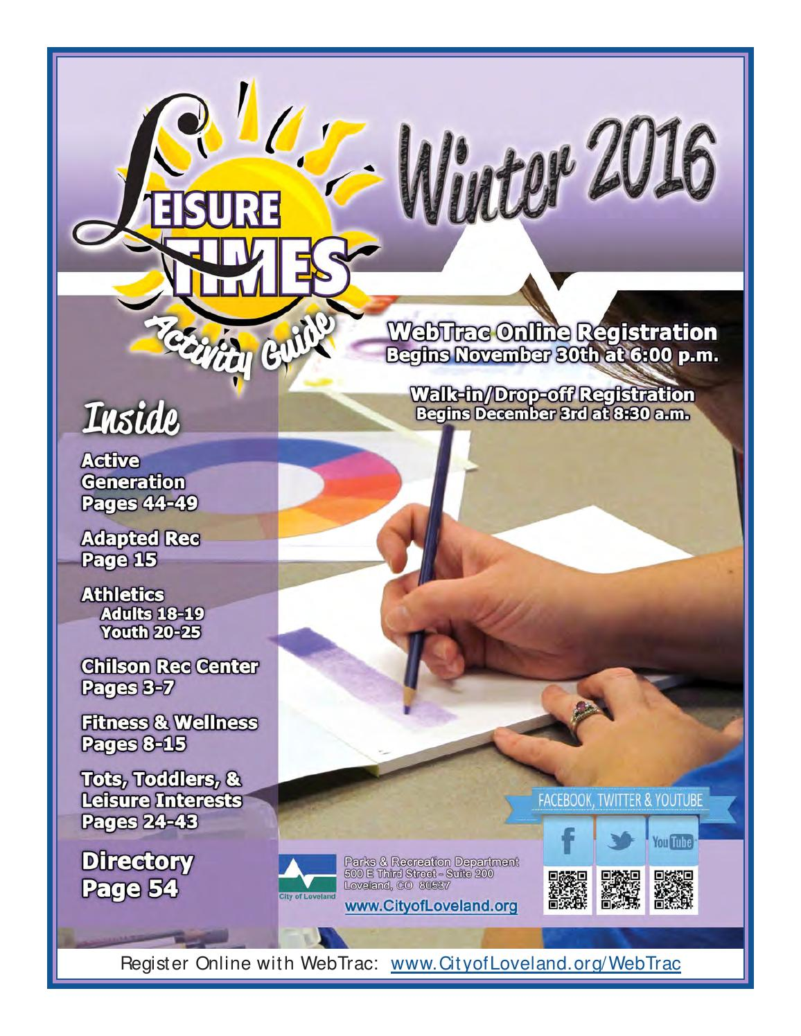 winter 2016 leisure times activity guide by city of loveland - parks