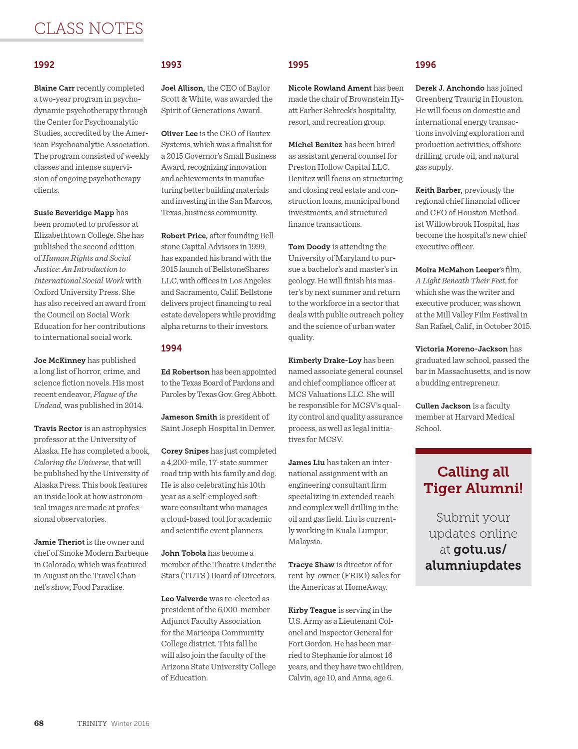Trinity Magazine | Winter 2016 by Trinity University - issuu