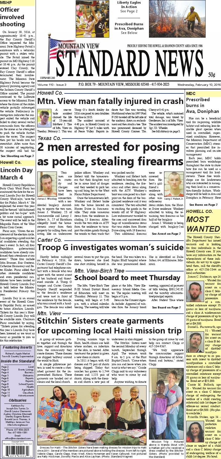 Mv standard issue 2 10 2016 by Mountain View Standard News
