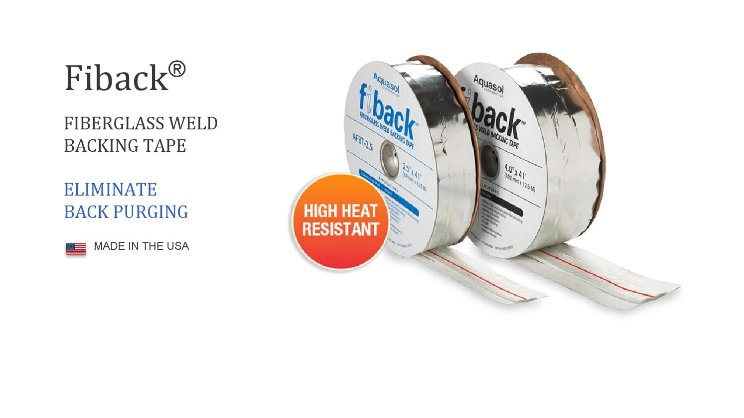 Aquasol AFBT-2.5-200 Fiback Weld Backing Tape 200 AMP 82 Length 2.5 Wide 1.125 Fiberglass Center Strip Width 82/' Length 2.5 Wide 1.125 Fiberglass Center Strip Width