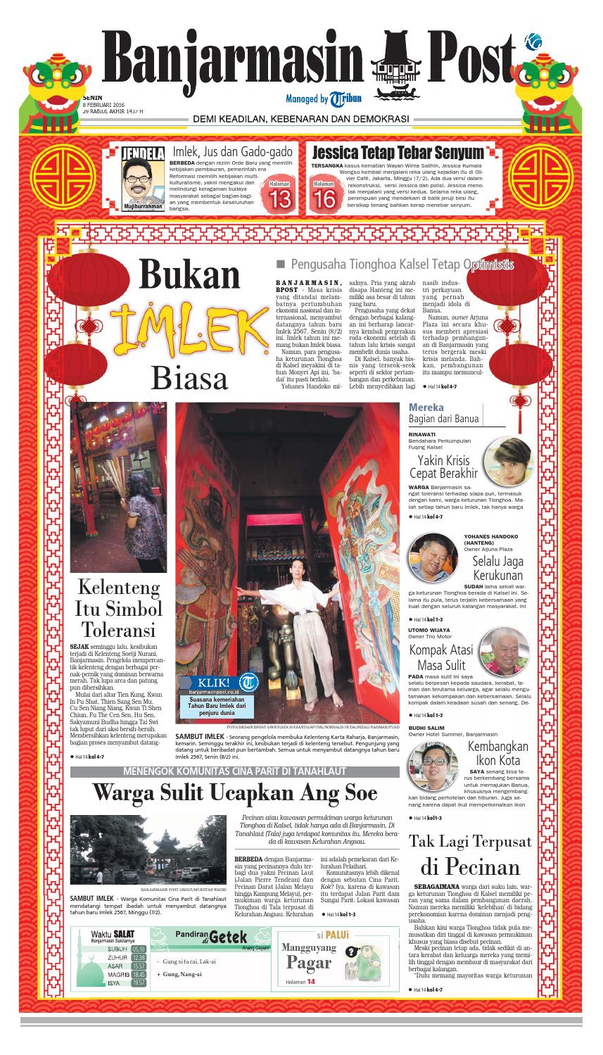 Banjarmasin Post Senin 8 Februari 2016 By Issuu Produk Ukm Bumn Jamu Kunyit Asam Seger Waras