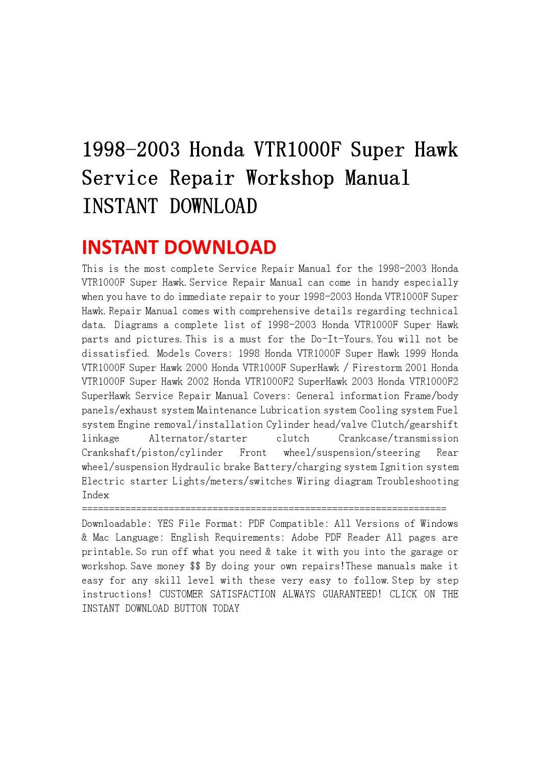 1998 2003 honda vtr1000f super hawk service repair. Black Bedroom Furniture Sets. Home Design Ideas