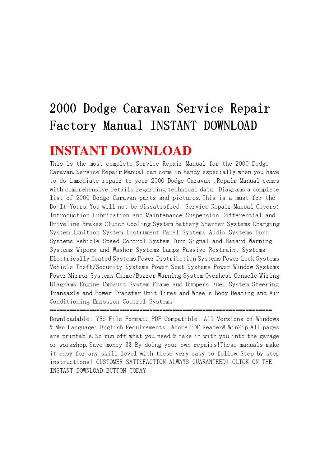 2000 dodge caravan service repair factory manual instant. Black Bedroom Furniture Sets. Home Design Ideas