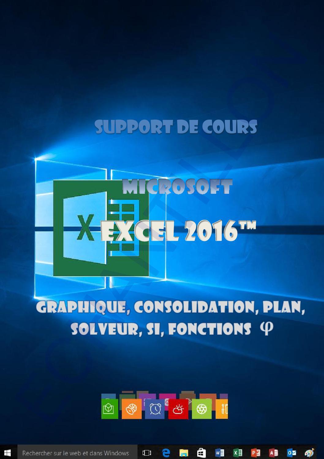 support de cours excel 2016 niveau 2 graphique  consolidation  nom  plan  solveur  fonctions by