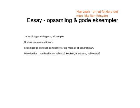 essay refleksion erindring