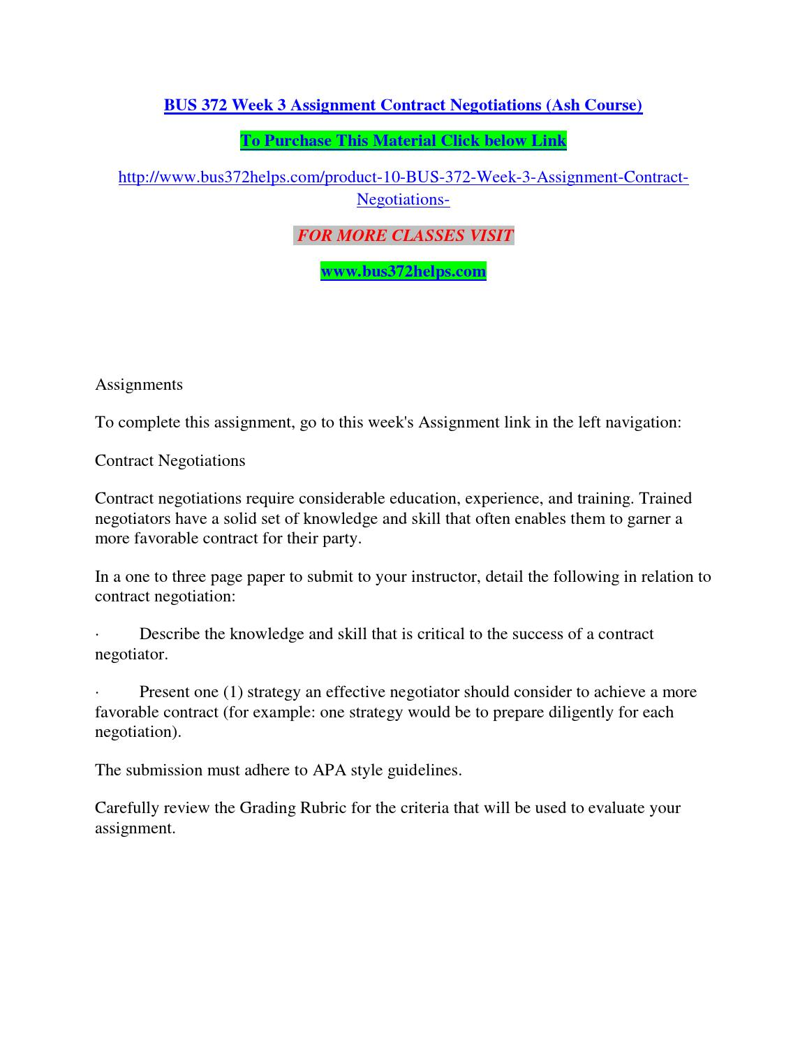 Bus 372 week 3 assignment contract negotiations (ash course) by ...