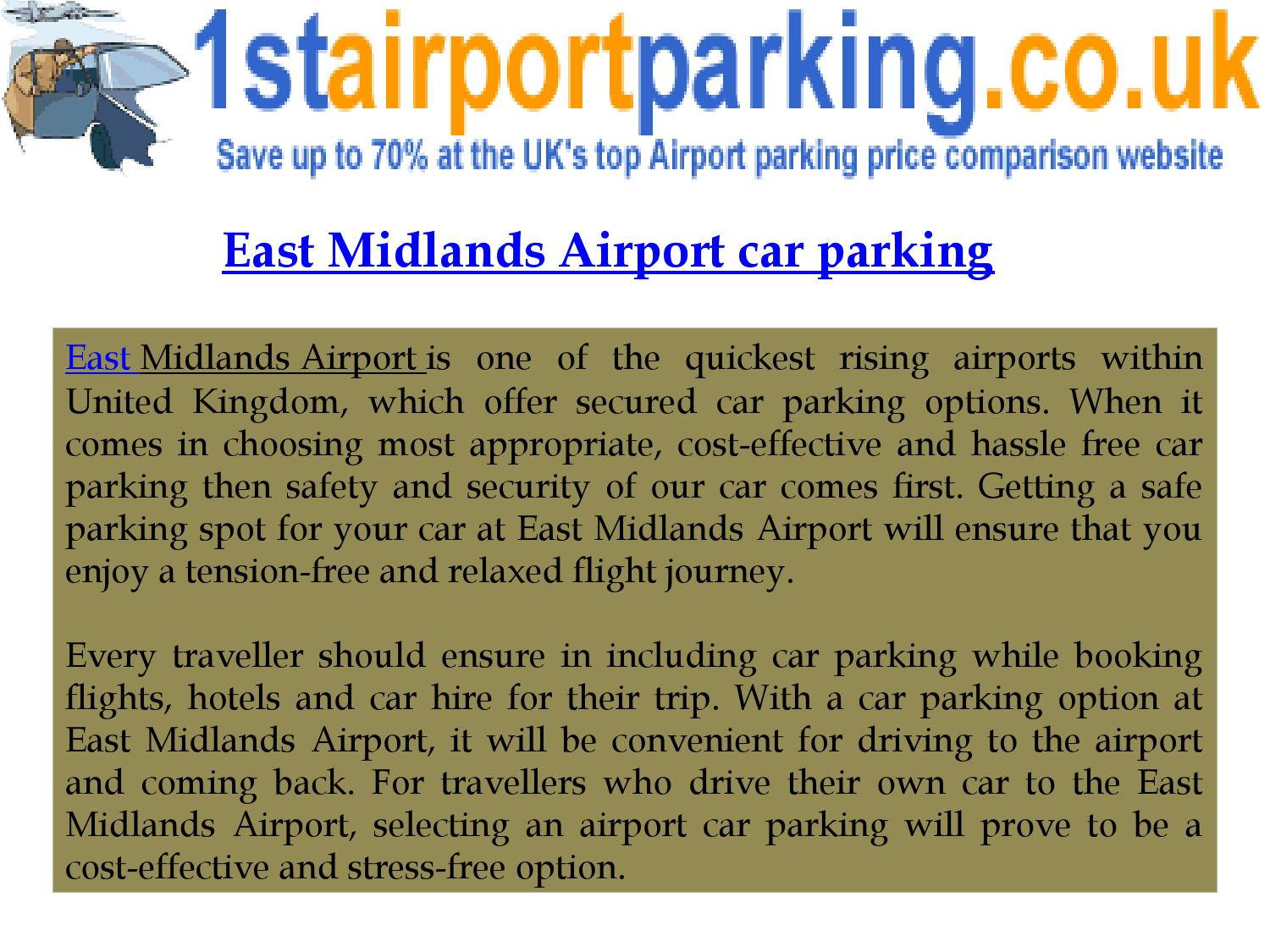 East Midlands Airport Car Parking By 1st Airport Parking Issuu