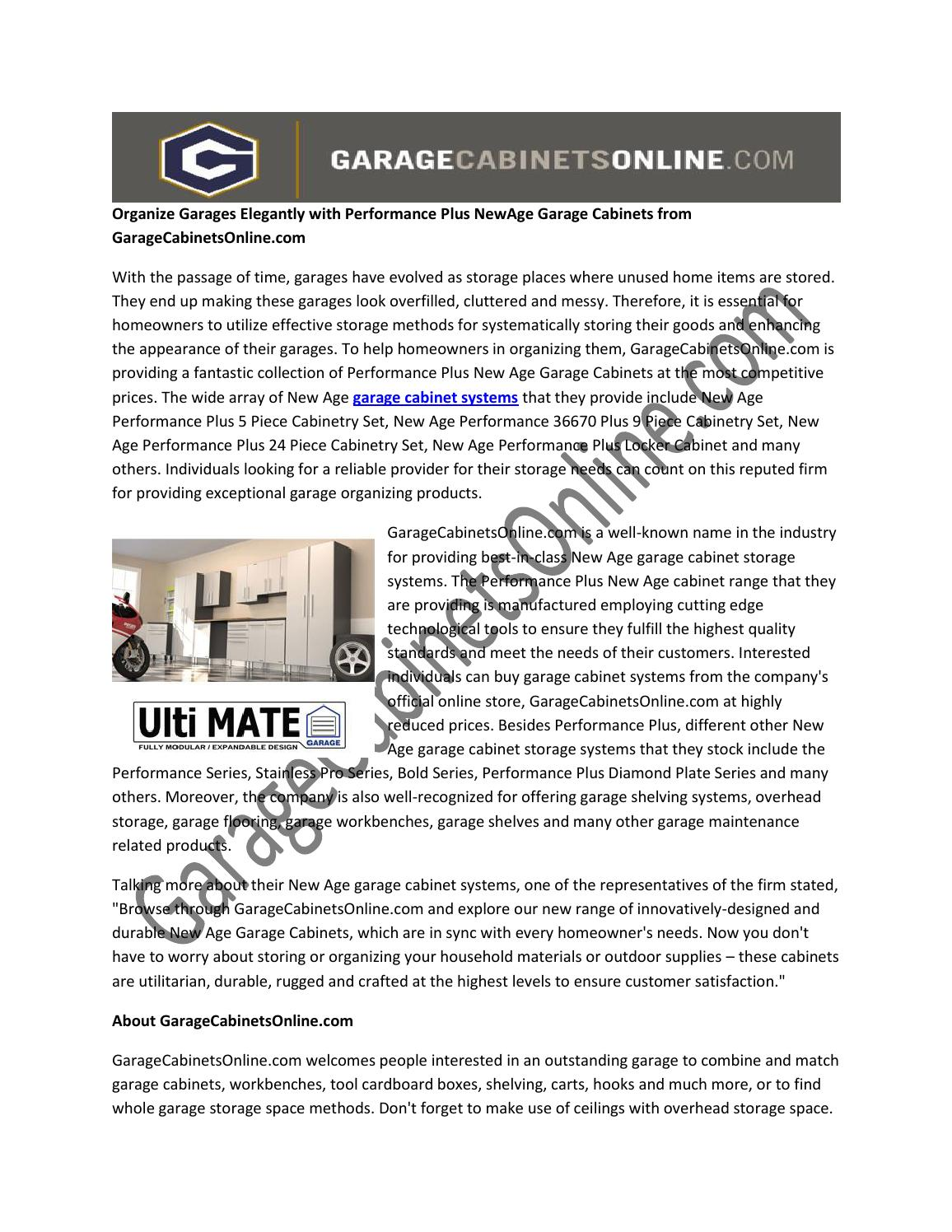 Organize Garages Elegantly With Performance Plus Newage Garage Cabinets  From Garagecabinetsonline By Garagecabinetsvideos   Issuu