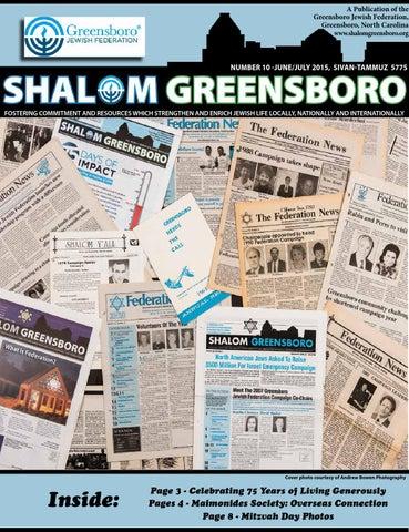 Shalom Greensboro, June and July 2015 by Greensboro Jewish ...