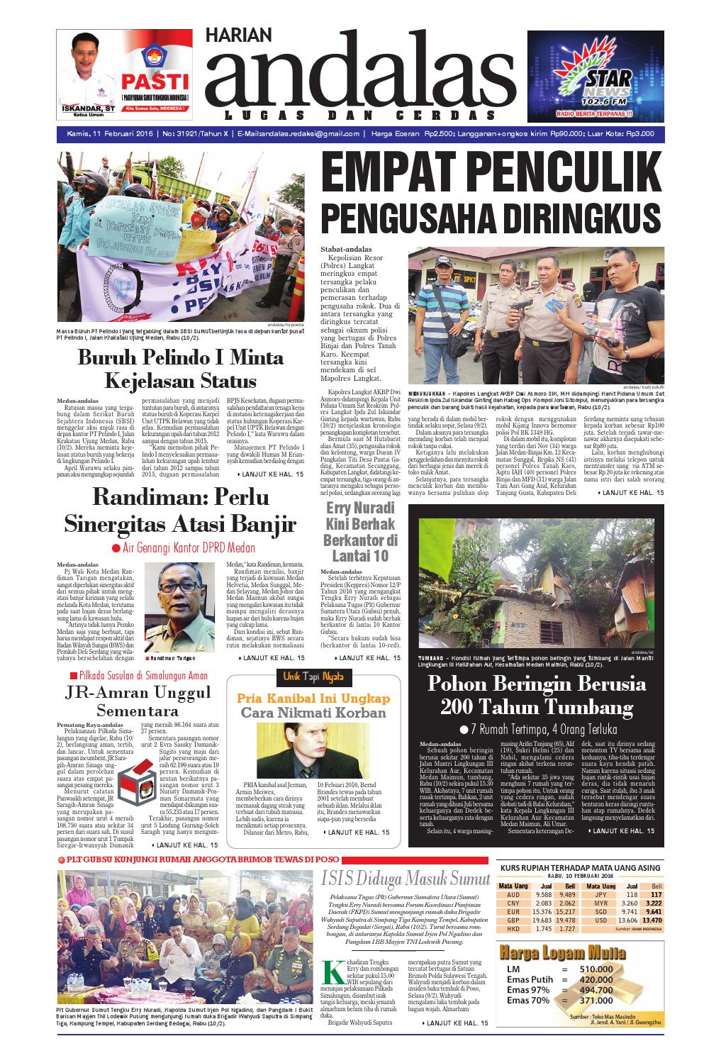 Epaper Andalas Edisi Kamis 11 Februari 2016 By Media Issuu Fcenter Lemari Pakaian Wd Hk 1802 Sh Jawa Tengah