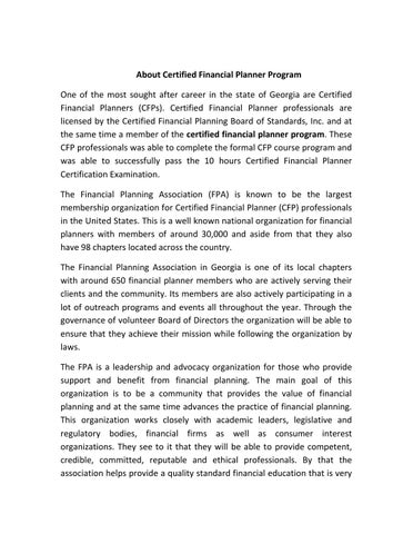 About Certified Financial Planner Program by ElmoSHelms - issuu