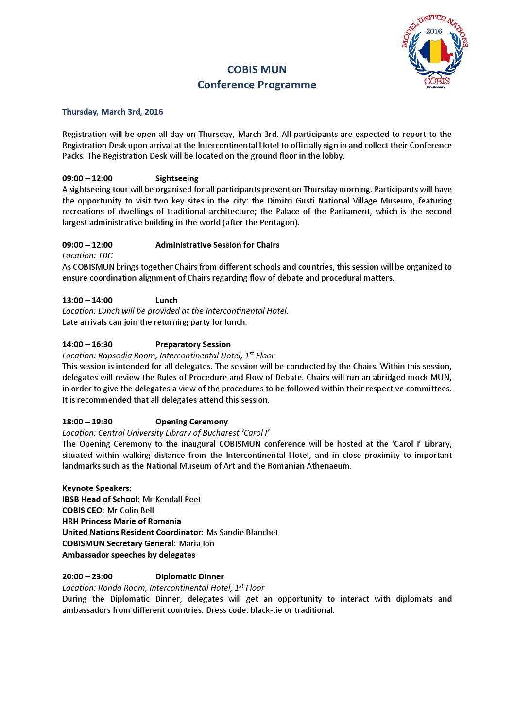COBIS MUN Conference Programme by International British