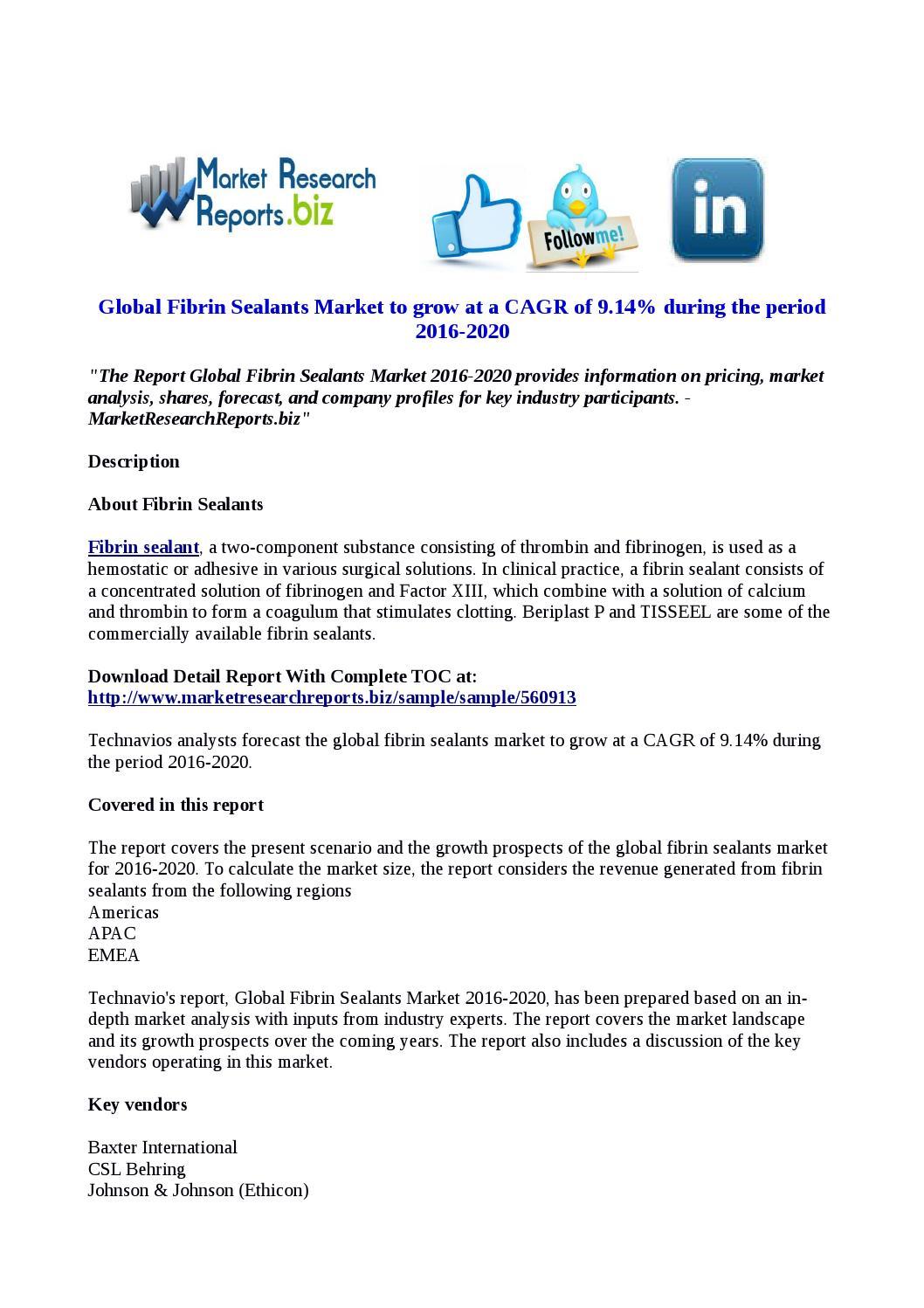 Global fibrin sealants market by Rashmi - issuu