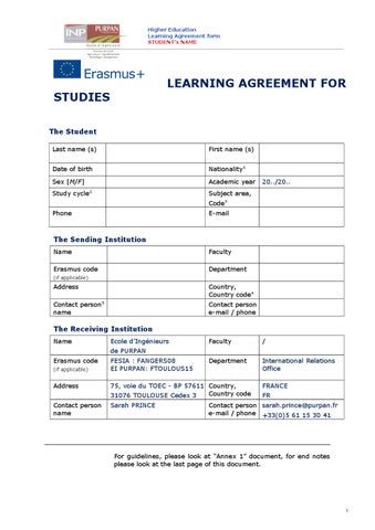 Erasmus Learning Agreement By Purpan Issuu