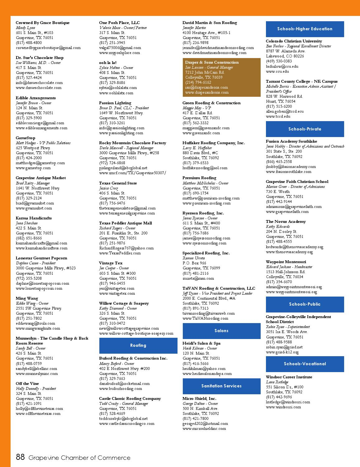 Grapevine Chamber Of Commerce 2016 Community Directory Referral