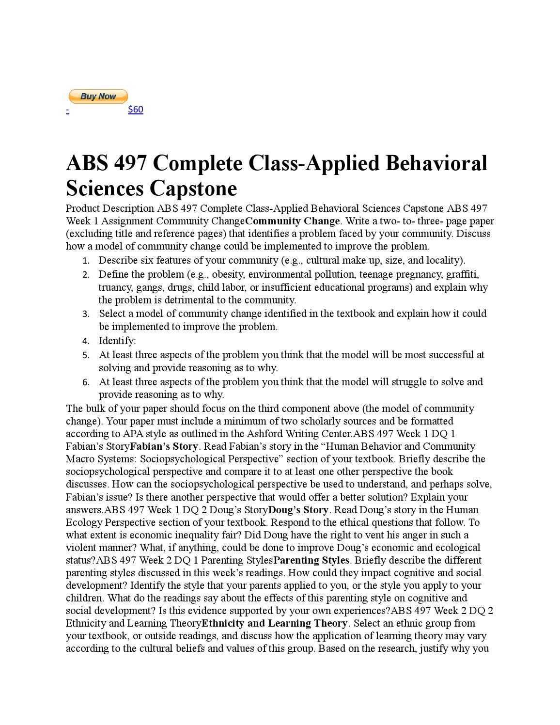 ABS 497 Applied Behavioral Sciences Capstone Project Assistance