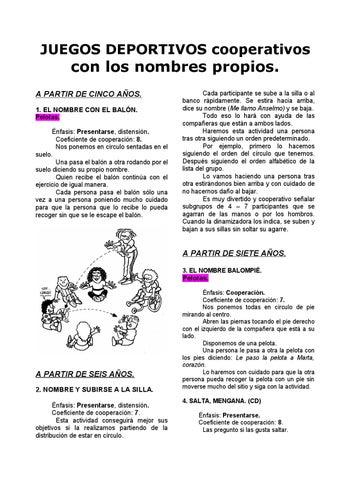 01 Juegos Cooperativos Ef Con Los Nombres Propios Jorge By Jorge