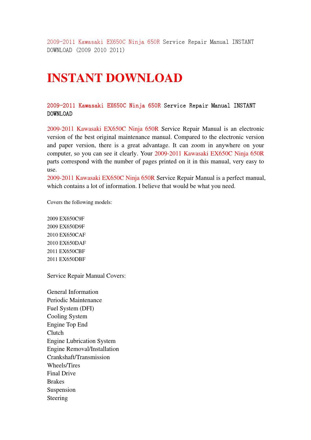 2011 Kawasaki Ninja 650r Parts Diagram Schematic Diagrams Engine 2009 Ex650c Service Repair Manual Instant 08