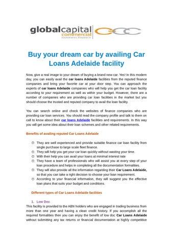 Car Loans Adelaide By Gccbusinessfinance Issuu