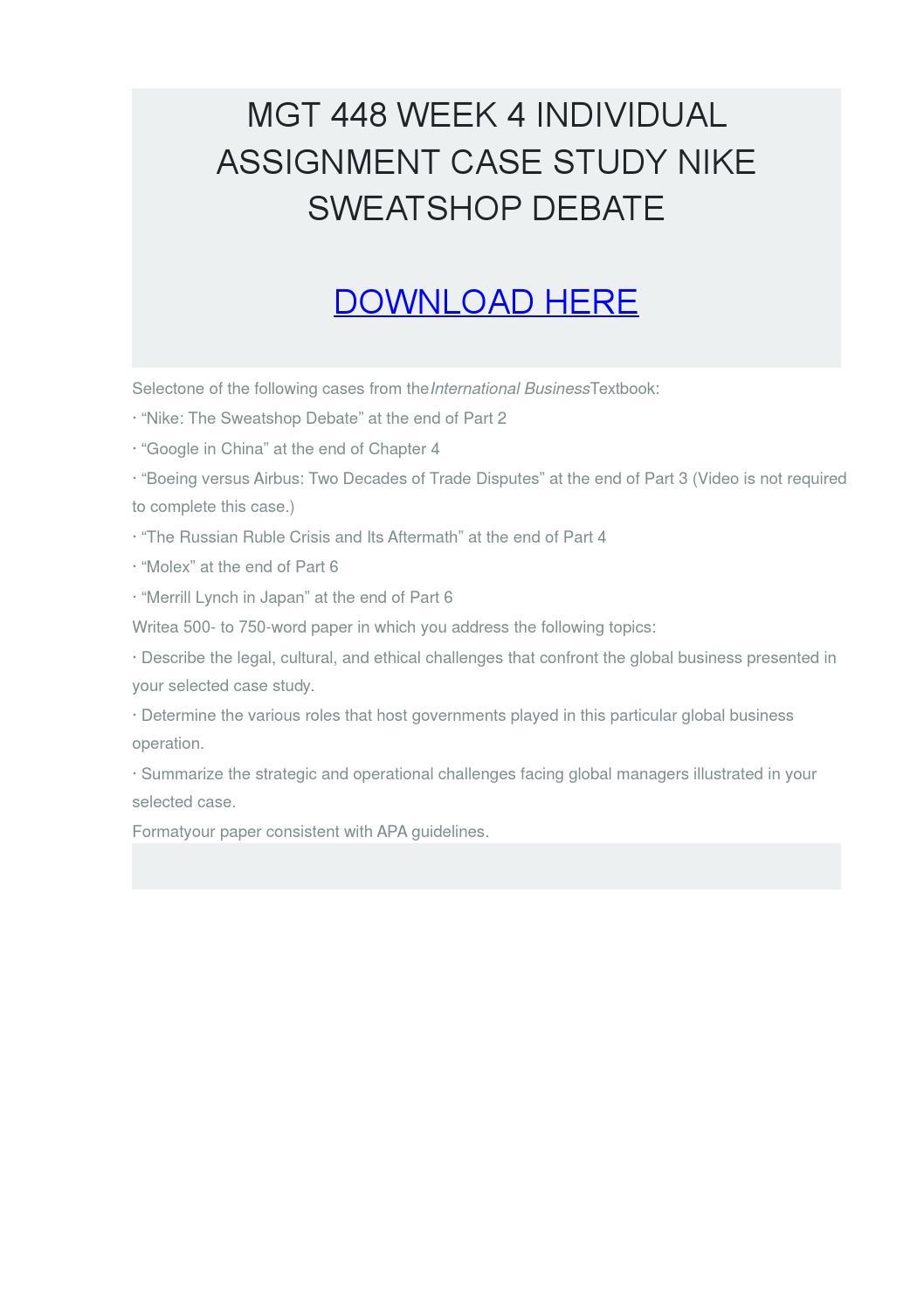 case study 1 nike sweatshops