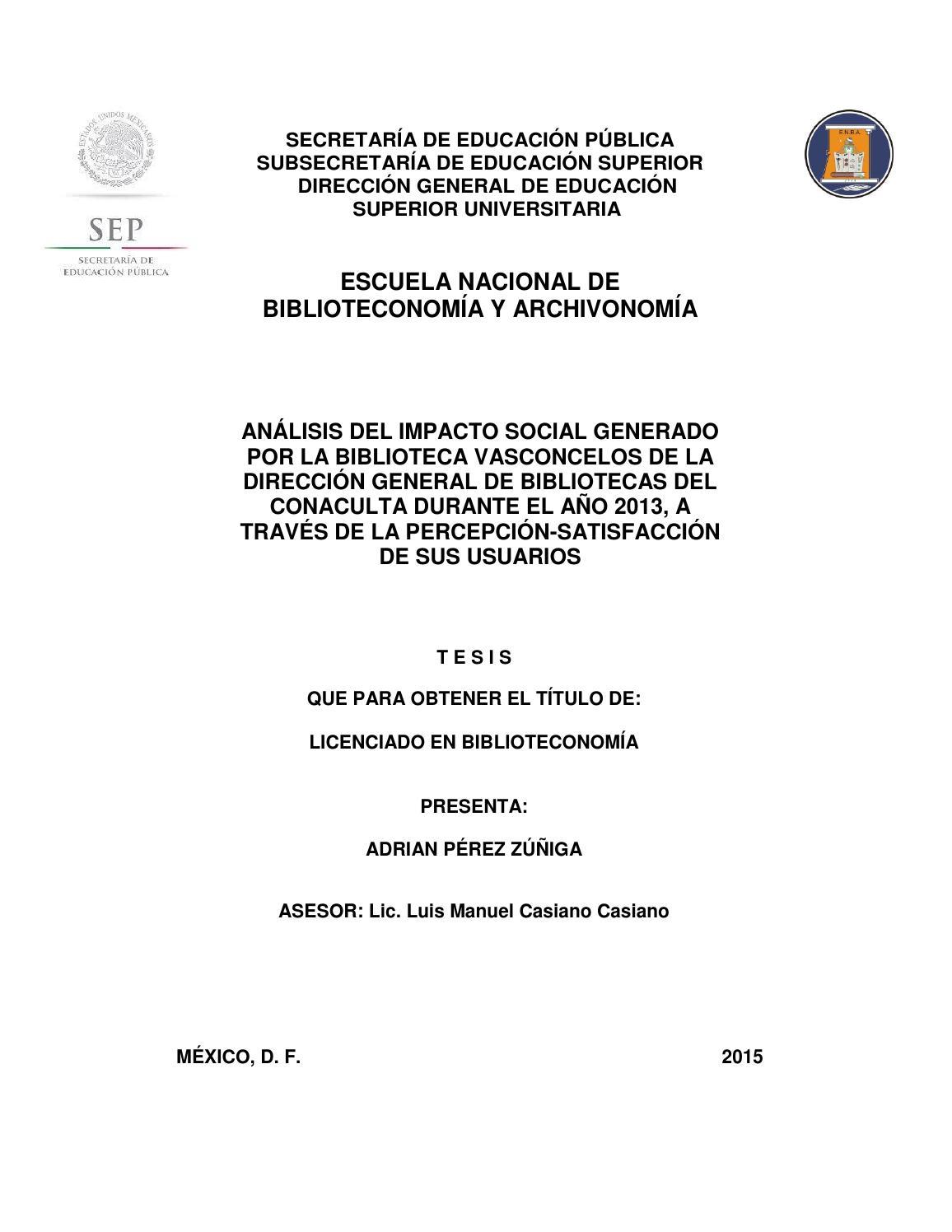 Análisis del impacto social generado por la Biblioteca Vasconcelos ...