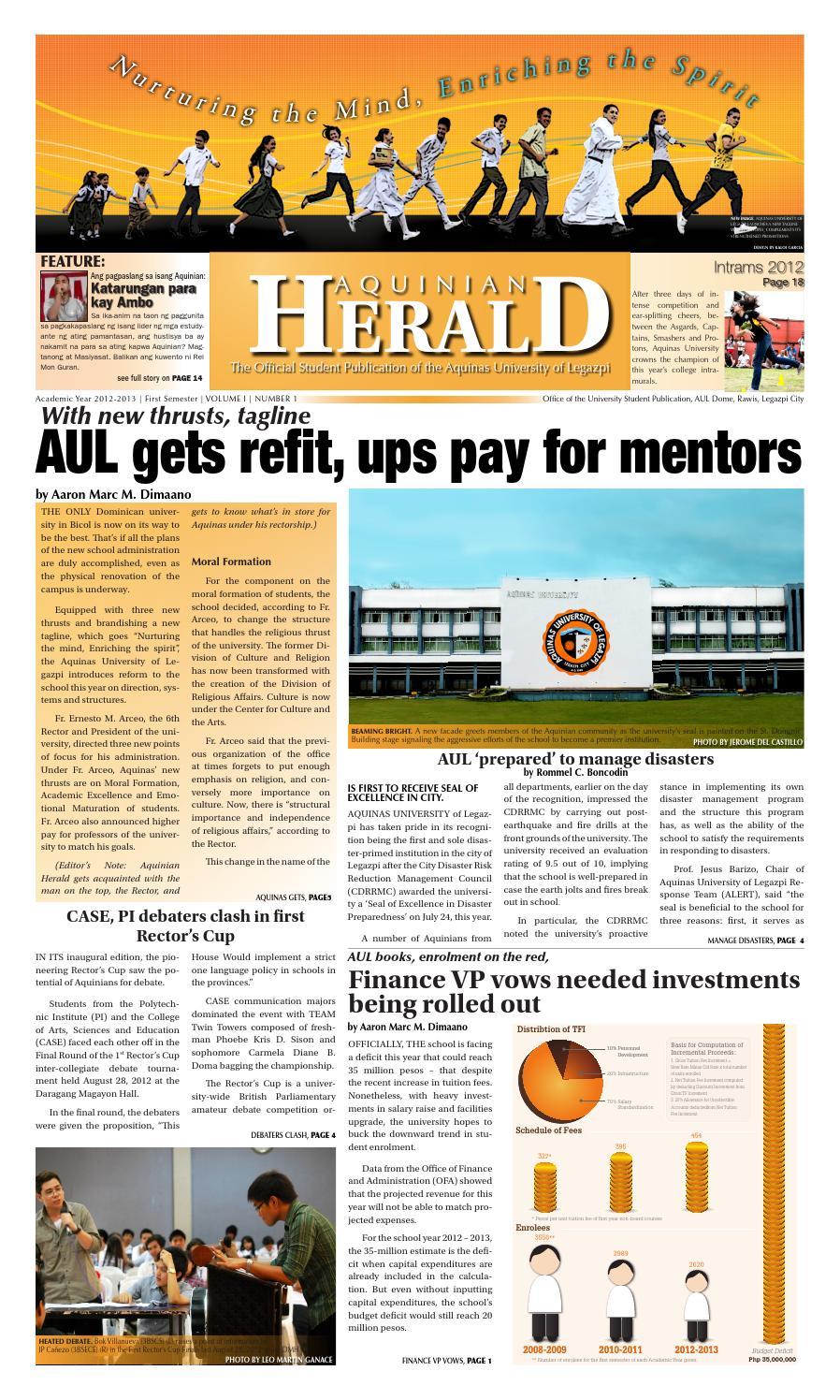Banos Tft.Aquinian Herald Volume I Issue 1 By Aquinian Herald Issuu