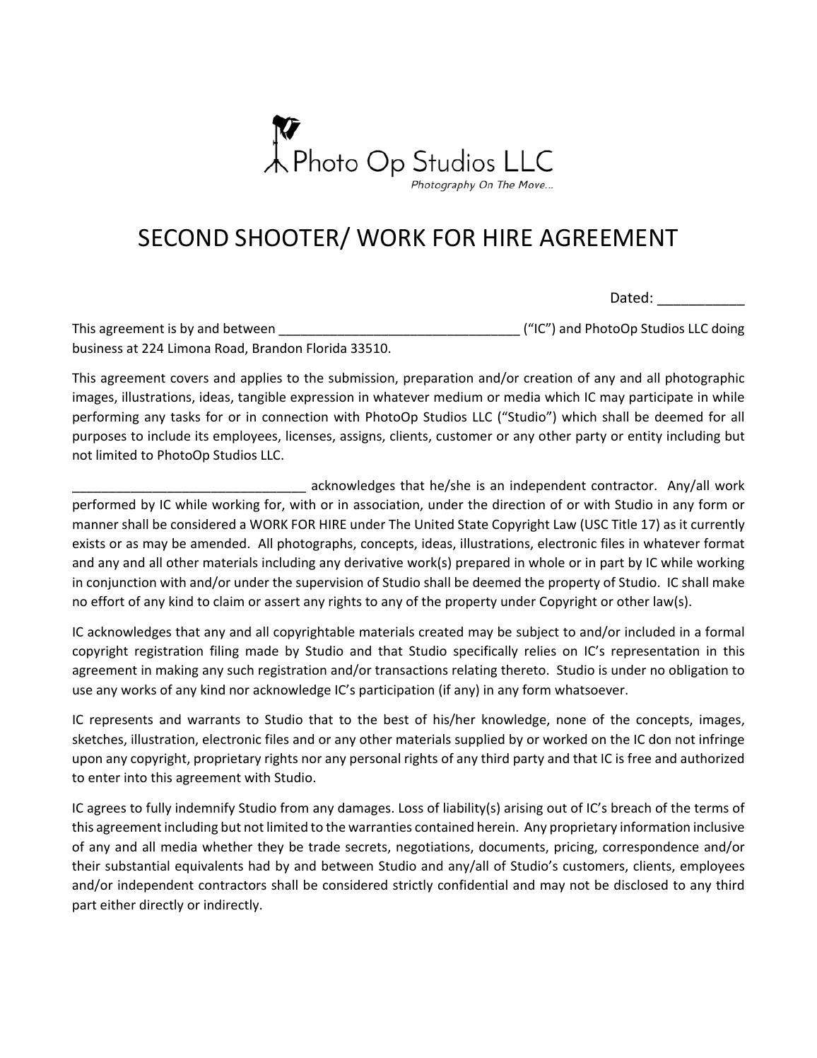 Second Shooter Agreement By Greg Murphy Issuu