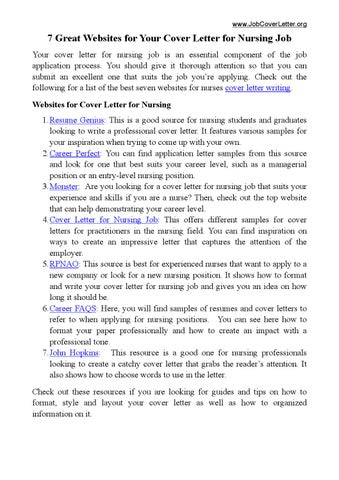 7 Great Websites For Cover Letter For Nursing Job By Cale Pit Issuu