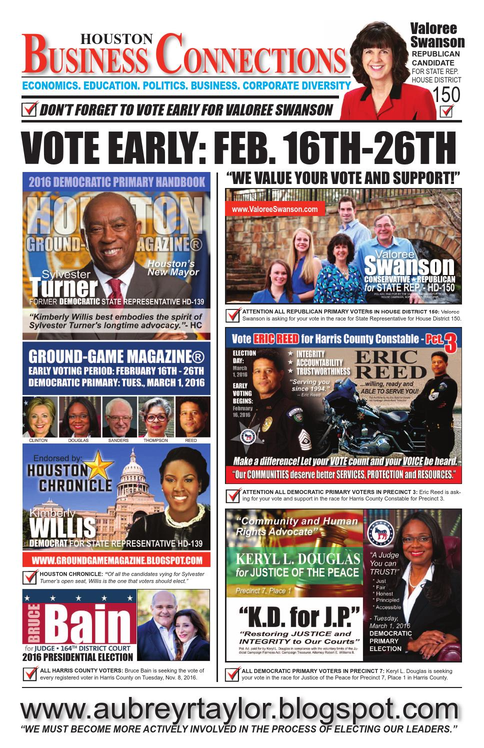 District judge 174th judicial district - February 2016 Early Voting Edition Of Houston Business Connections Newspaper By Aubrey R Taylor Communications Issuu