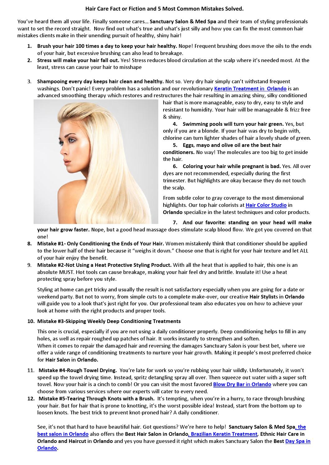 Hair Care Fact Or Fiction And 5 Most Common Mistakes Solved By