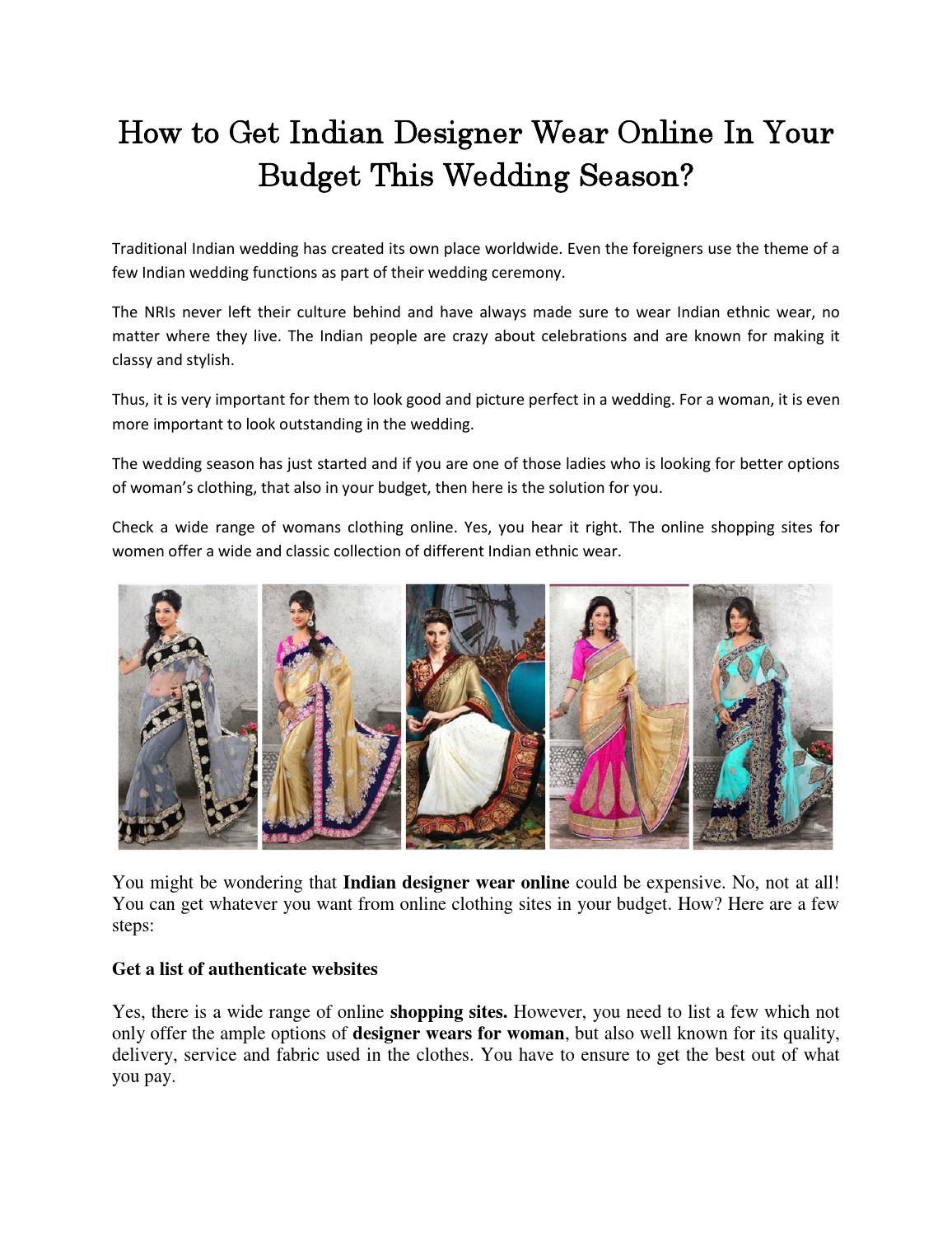 Best Online Sites For Indian Dresses | Saddha