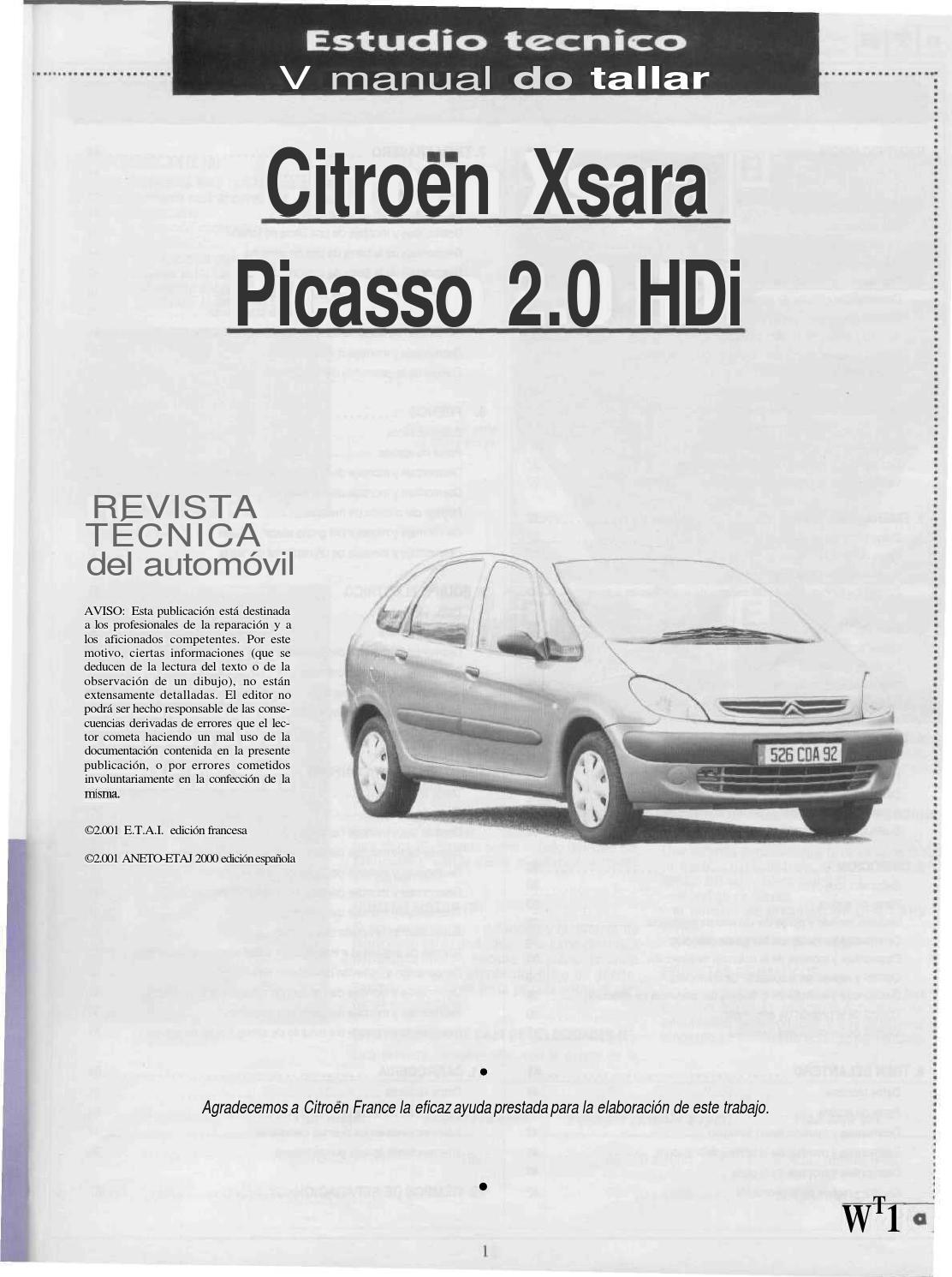 Estudio y manual de taller del xara picaso 2001 2 0 hdi by Eduardo Jose -  issuu