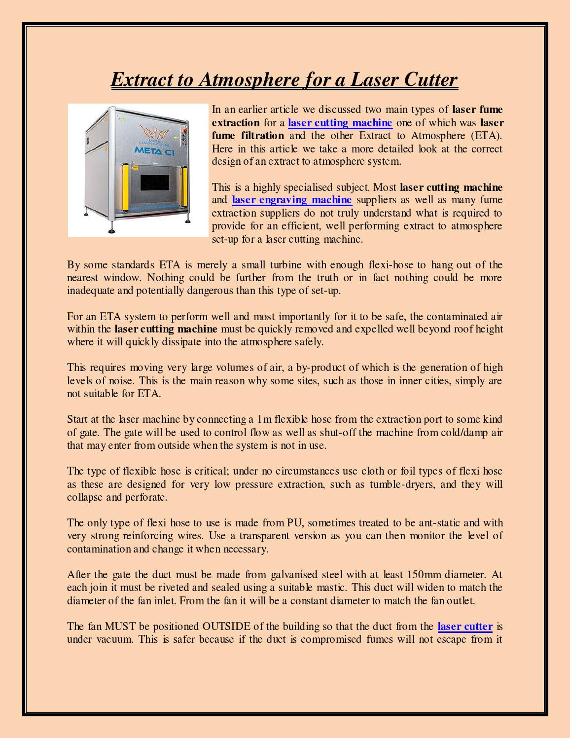 Extract to atmosphere for a laser cutter by Laser Cutter - issuu