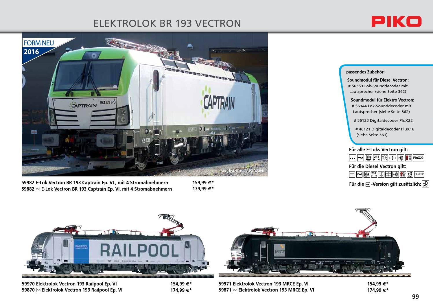Piko 59970 gasóleo Vectron 193 railpool h0