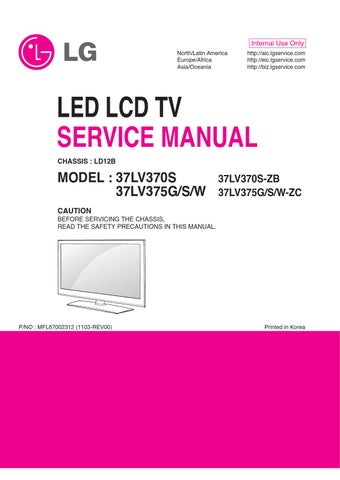 manual de servi o do televisor marca lg modelo 37lv375s. Black Bedroom Furniture Sets. Home Design Ideas