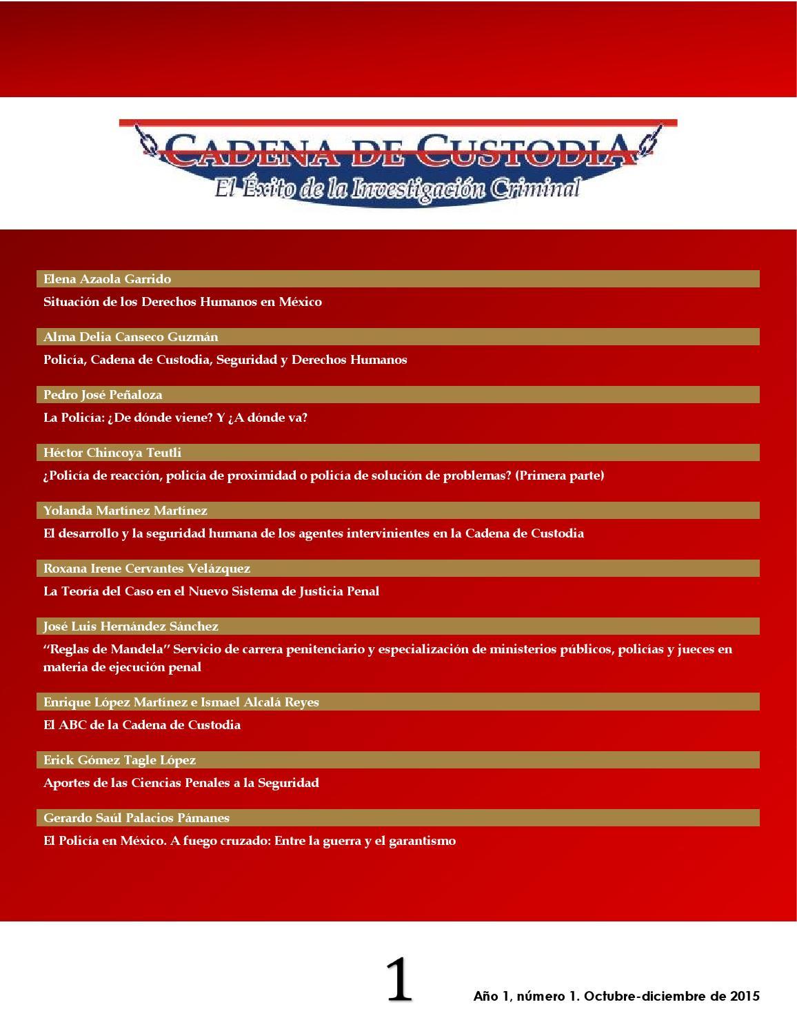 Cadena de Custodia: ¡El éxito en la investigación! Número 1. by ...