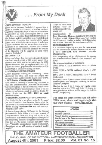 The Amateur Footballer Week 15 2001 By Andrew Leonard Issuu