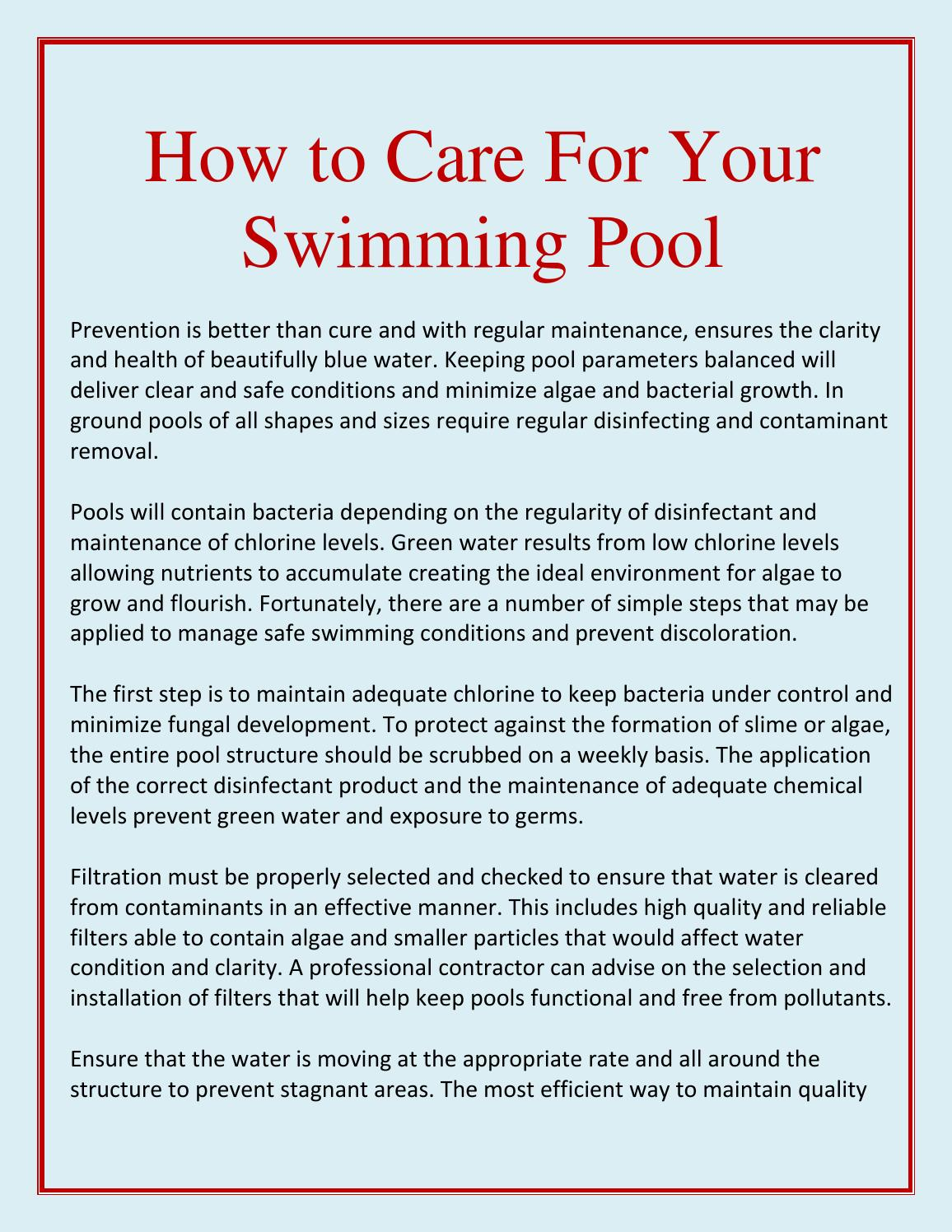 How to Care for Your Swimming Pool by Peter Davies - issuu