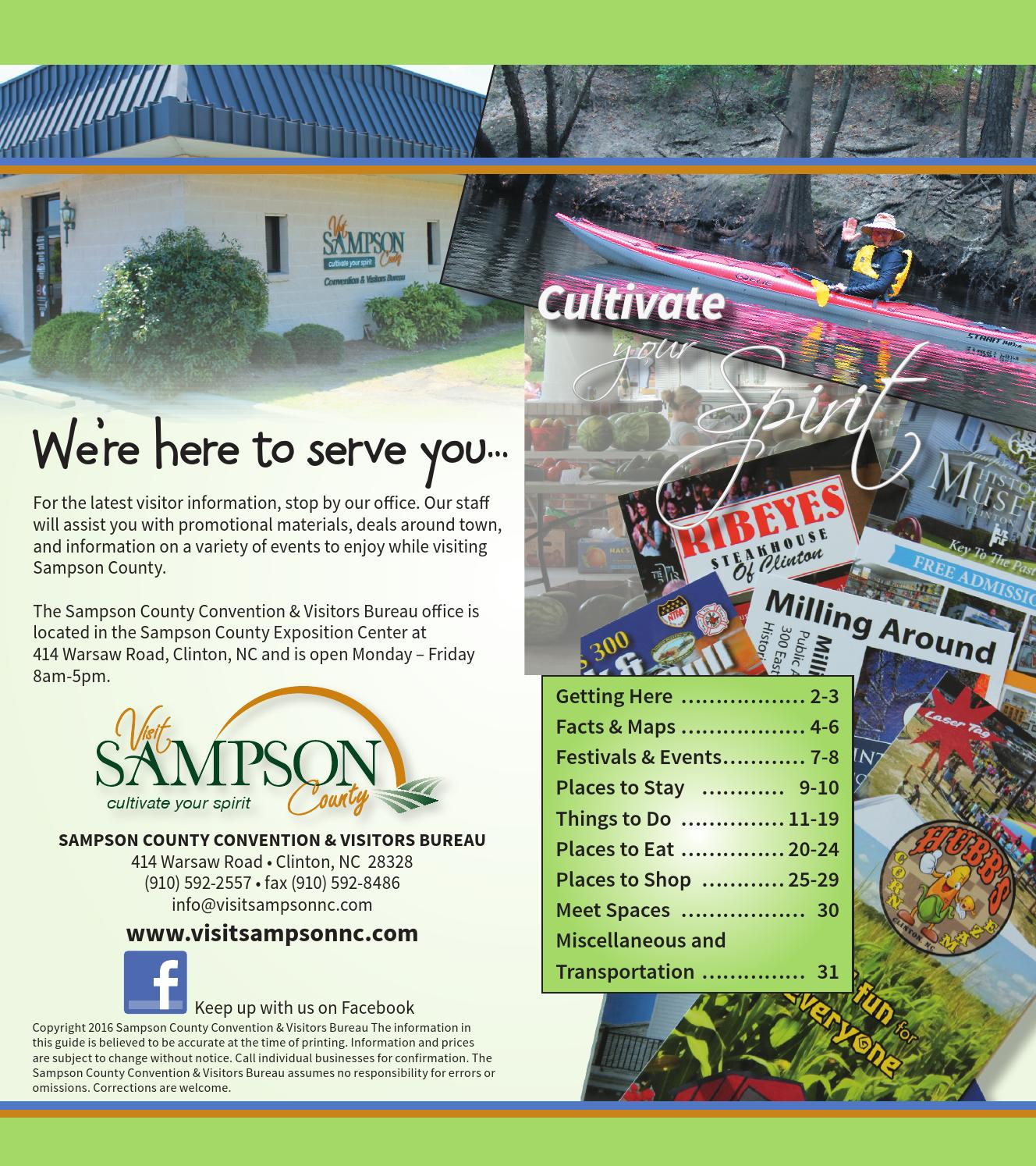 Sampson County Visitor Guide 2016 by Jim Stallard - issuu